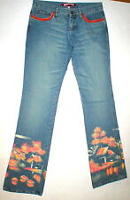 New Womens Designer NWT Voyage Passion Italy Bright Painted Jeans Crystals 30