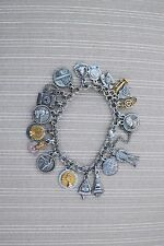 Pacific Bell Charm Bracelet~ Sterling Silver Stamped 20 Charms Total, Vintage