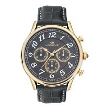 OROLOGIO UOMO LORENZ CHRONO BLACK/GOLD BLACK LEATHER LZ30023DD - NEW (LIST.€269)