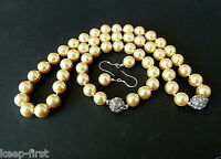 10mm Natural Yellow South Sea Shell Pearl Necklace Bracelet Earrings Set AAA