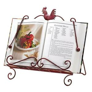 Iron Red Rooster Cookbook Stand Indoor Decor