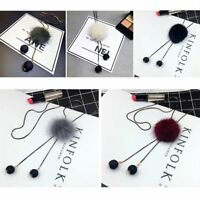 Women Girls Sweater Pendant Jewelry Pompom Necklace Gift Accessories