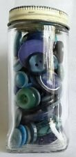 Vintage Mixed Assorted BLUE Buttons in a Glass McCormick Spice Jar