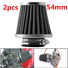 2pcs 54mm Motorcycle Universal Tapered Chrome Pod Air Filters Clean W/Hose Clamp