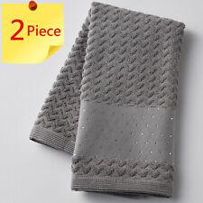 Pilbeam Zig Zag Charcoal with Diamante Trim Jacquard Hand Towel | 2 Piece Set