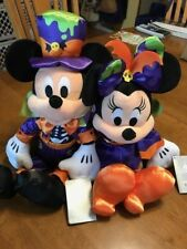 "Disney Store Mickey & Minnie Mouse Halloween Theme Plush 16""  Really Cute! ~ NEW"