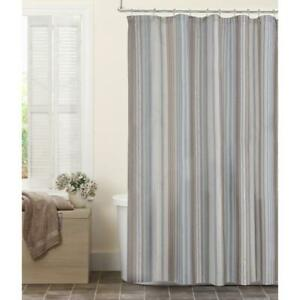 Maytex Jodie Stripe Fabric 72 in. x 72 in. Shower Curtain