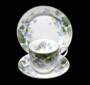 Vintage Elizabethan Harewood pretty lilac/blue flowers teacup trio set