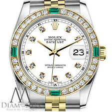 Ladies Rolex 31mm Datejust 2Tone White Color Dial with Emerald Diamond Accent RT