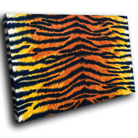 Tiger Stripe Fur Coat Red Funky Animal Canvas Wall Art Large Picture Prints