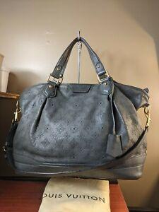 Auth Louis Vuitton Stellar Handbag Mahina Leather gm Slategray