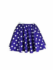 Childs Rock and Roll 50s Fancy Dress Grease Costume Polka Dot Skirt & Scarf Purple With White Spot L