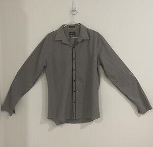 Pierre Cardin Mens Button Up Shirt Size L Super Slim Fit Long Sleeve