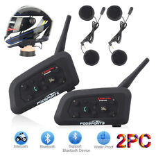 2X 1200m Motocycle Intercom BT Bluetooth Interphone Headset Helmet for Cellphone