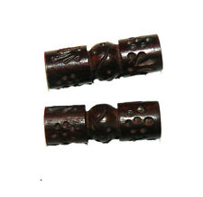 5 Hand Carved Wood Beads 2.8mm Hole 10x30mm