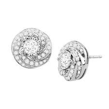 1 ct Diamond Swirl Stud Earrings in 10K White Gold