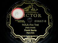 JAZZ 78 RPM RECORD Victor FRANK BANTA PIANO SOLO