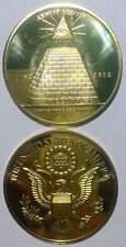 Annuit Coeptis 1782-1882 gold plated 41mm magnetic medal token coin proof UNC