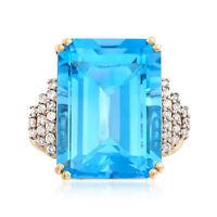 Ross-Simons Blue Topaz & Diamond Ring in 14kt Gold