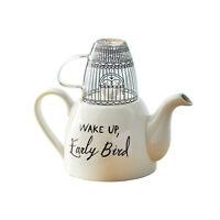 Wake Up, Early Bird Tea Set, Tea for One - 2 Cup Ceramic Teapot & Glass Mug