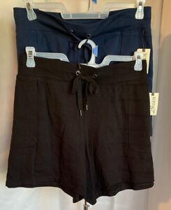Terra & Sky Plus Black Blue Elastic Drawstring Waist Pockets Knit Shorts NWT