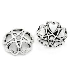 100 Antik Silber Hohl Blume Endkappen Perlenkappen 10x 10mm