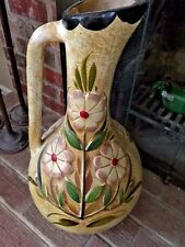 Unique ONE OF A KIND Pottery PITCHER VASE Hand Sculpted Painted Heavy 2 Ft Tall