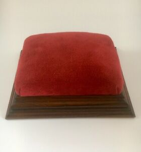 Vintage Hardwood Foot Stool/ Prayer Stool with lovely red velvet fabric covering