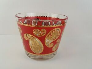 Vintage Culver Red and Gold Paisley Glass Ice Bucket