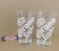 Corona Light The Light Cerveza Set of Two (2) 16 oz Pint Beer Glasses Brand New!