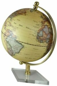 Großer Globus mit Messing Fuß transparent- Farbe beige