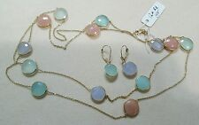 14K Yellow Gold Necklace with Multi Chalcedony 12mm Round and matching earrings