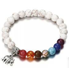 Silver and Peach 7 Chakra Acrylic Earth Beads Bracelet Elephant Buddha Spiritual