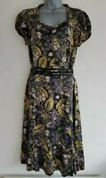 WHISTLES Women's Black/Multi Floral Print Jewelled Silk A-Line Dress. Size UK 12