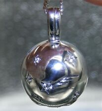 """Shooting Star Sphere Locket 925 STERLING SILVER Simulated Diamond 18"""" necklace"""