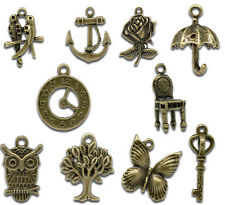 50 Mixed Antique Bronze Coloured Charms/Pendants STEAMPUNK Jewellery Making Kit