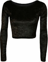 NEW WOMEN LADIES VELVET LONG SLEEVE CROP TOP SIZE 6,8-10,12-14,16