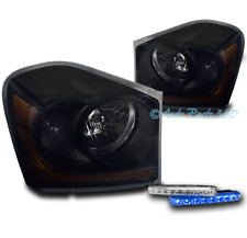 04-05 DODGE DURANGO SUV REPLACEMENT HEADLIGHTS LAMPS BLACK/SMOKE W/BLUE DRL LED