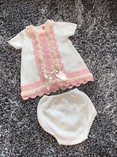 IMMACULATE - SPANISH - NINI KNITTED 2 PIECE SET - CREAM & PINK - 36 MONTHS 3Y