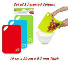 Set of 3 Non Slip Chopping Mat Board Plastic Fruit Vegetable Kitchen Cutting