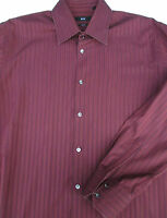 Hugo Boss Mens Button Front Long Sleeve Designer Burgundy Stripe Shirt 17