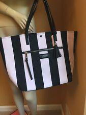 Victorias Secret Getaway Black & Pink Striped Weekender W Tassel Canvas Tote $58