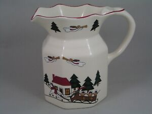 MASONS CHRISTMAS VILLAGE LARGE FENTON JUG, MADE IN ENGLAND.