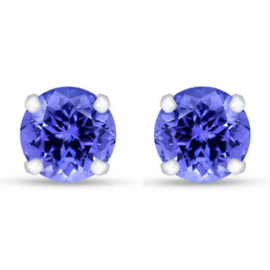 Round Cut 3 Ct Simulated Tanzanite Stud Earrings In 10K Solid Gold