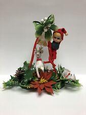 Vintage Plastic Christmas Decoration Christmas Elf & Reindeer On Ladder