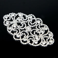 Charming Leaf Shape Crystal Glass Rhinestone Silver Sewing On Applique Trimmings