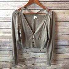 Anthropologie Moth Brown Kimmel Cropped Cutout Detail Cardigan Sweater Size S