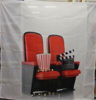 ABAKUHAUS Duschvorhang Kino 12 Ringe Set Wasserdicht 175x180 cm Weiß Schwarz Rot
