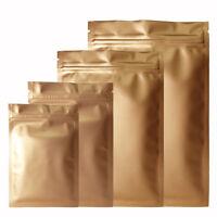 Matte Golden Mylar Zipper Grip Seal Foil Bags Flat Pouch Smell Free BPA Free
