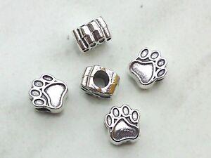 3x Beads Pfote 11mm Großloch Perlen Tatze Hund Katze Pfote Schmuck Deko Basteln